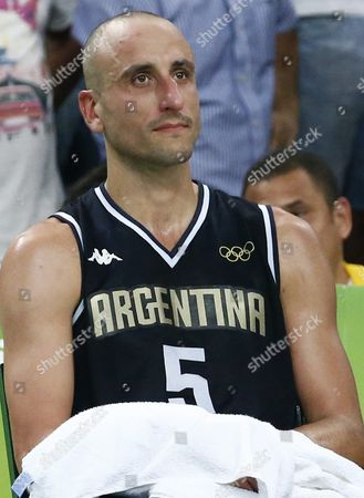 Stock Picture of Argentina's Manu Ginobili Reacts After the Men's Basketball Quarter Final Match Between the Usa and Argentina of the Rio 2016 Olympic Games at the Carioca Arena 1 in the Olympic Park in Rio De Janeiro Brazil 17 August 2016 Brazil Rio De Janeiro