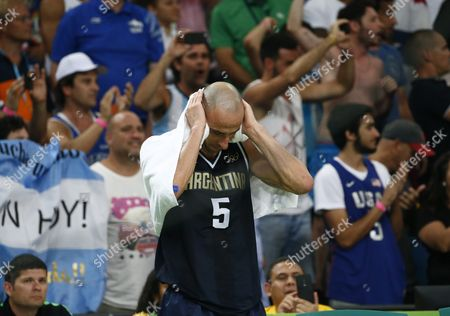 Argentina's Manu Ginobili Reacts After the Men's Basketball Quarter Final Match Between the Usa and Argentina of the Rio 2016 Olympic Games at the Carioca Arena 1 in the Olympic Park in Rio De Janeiro Brazil 17 August 2016 Brazil Rio De Janeiro