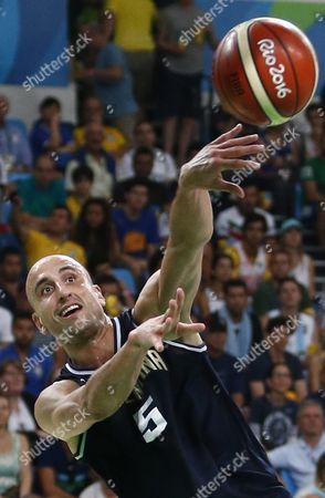 Manu Ginobili of Argentina in Action During the Men's Basketball Quarter Final Match Between the Usa and Argentina of the Rio 2016 Olympic Games at the Carioca Arena 1 in the Olympic Park in Rio De Janeiro Brazil 17 August 2016 Brazil Rio De Janeiro