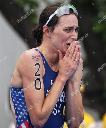 Gwen Jorgensen of the Usa Reacts After Winning the Gold Medal in the Women's Triathlon Race of the Rio 2016 Olympic Games at Fort Copacabana in Rio De Janeiro Brazil 20 August 2016 Brazil Rio De Janeiro