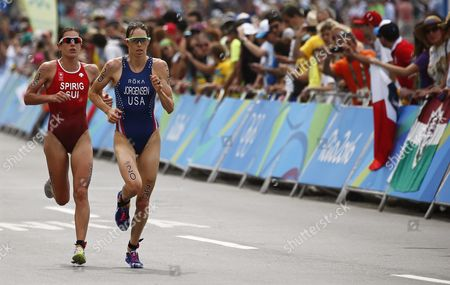 Gwen Jorgensen (r) of the Usa and Nicola Spirig (l) of Switzerland in Action During the Running Leg of the Women's Triathlon Race of the Rio 2016 Olympic Games at Fort Copacabana in Rio De Janeiro Brazil 20 August 2016 Jorgensen Won the Gold Medal Ahead of Second Placed Spirig Brazil Rio De Janeiro