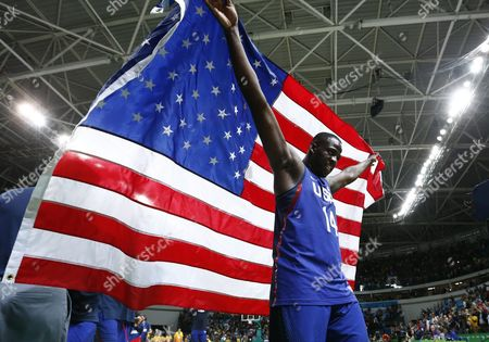 Usa's Draymond Green Celebrates After Defeating Serbia During Their Rio 2016 Olympic Games Men's Gold Medal Game at the Carioca Arena 1 in the Olympic Park in Rio De Janeiro Brazil 21 August 2016 Brazil Rio De Janeiro