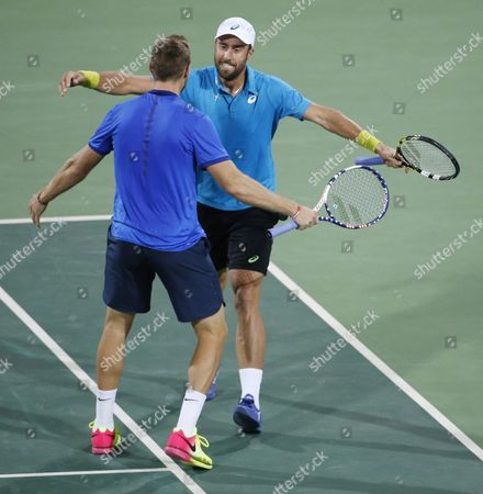 Steve Johnson (r) and Jack Sock (l) of the Us Celebrate Winning the Bronze Medal Defeating Daniel Nestor and Vasek Popisil of Canada During Their Rio 2016 Olympic Games Men's Doubles Match at the Olympic Tennis Centre in the Olympic Park in Rio De Janeiro Brazil 12 August 2016 Brazil Rio De Janeiro
