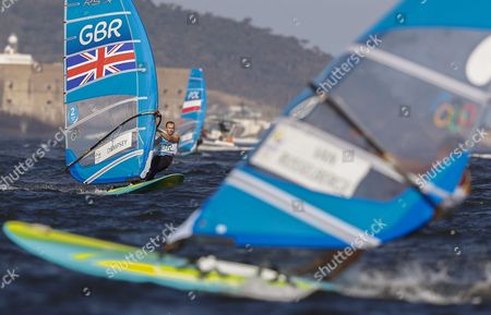 Nick Dempsey of Britain Sails on His Way to Win the Silver Medal in the Men's Rs:x Class Race of the Rio 2016 Olympic Games Sailing Events in Rio De Janeiro Brazil 14 August 2016 Brazil Rio De Janeiro