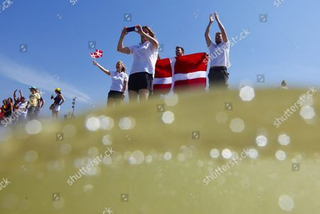 Fans From Denmark Wave to Laser Radial Sailor Anne-marie Rindom From Denmark (not Pictured) Ahead of Her Medal Race of the Rio 2016 Olympic Games Sailing Events in Rio De Janeiro Brazil 16 August 2016 Brazil Rio De Janeiro