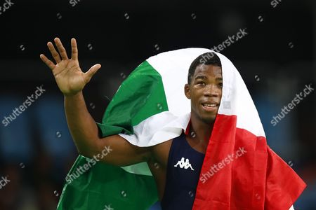 Frank Chamizo Marquez From Italy Reacts After Winning the Men's Freestyle 65kg Bronze Medal Bout of the Rio 2016 Olympic Games Wrestling Events at the Carioca Arena 2 in the Olympic Park in Rio De Janeiro Brazil 21 August 2016 Brazil Rio De Janeiro
