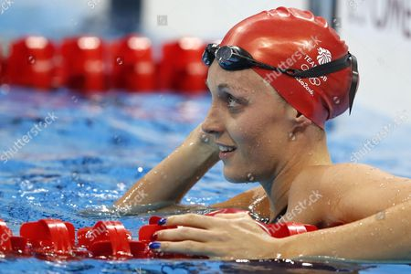Stock Photo of Francesca Halsall of Great Britain Reacts After Competing in the Women's 50m Freestyle Heats of the Rio 2016 Olympic Games Swimming Events at Olympic Aquatics Stadium at the Olympic Park in Rio De Janeiro Brazil 12 August 2016 Brazil Rio De Janeiro