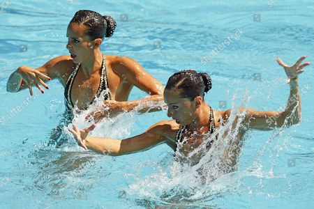 Ona Carbonell (l) and Gemma Mengual (r) of Spain Perform During the Women's Duet Free Routine Preliminary of the Rio 2016 Olympic Games Synchronised Swimming Events at the Maria Lenk Aquatics Centre in the Olympic Park in Rio De Janeiro Brazil 14 August 2016 Brazil Rio De Janeiro