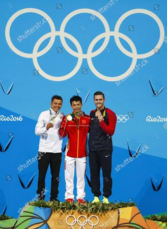(l-r) German Sanchez of Mexico (silver) Aisen Chen of China (gold) and David Boudia of the Us (bronze) During the Rio 2016 Olympic Games Men's 10m Platform Diving Medal Ceremony at the Maria Lenk Aquatics Centre in the Olympic Park in Rio De Janeiro Brazil 20 August 2016 Brazil Rio De Janeiro