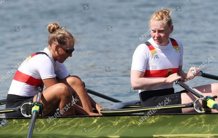 Marie Catherine-arnold (l) and Mareike Adams (r) of Germany in Action During the Women's Double Sculls Heats of the Rio 2016 Olympic Games Rowing Events at the Lagoa Rodrigo De Freitas in Rio De Janeiro Brazil 06 August 2016 Brazil Rio De Janeiro