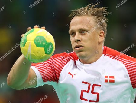 Morten Olsen of Denmark in Action During the Men's Handball Gold Medal Match of the Rio 2016 Olympic Games Between Denmark and France at the Future Arena in the Olympic Park in Rio De Janeiro Brazil 21 August 2016 Brazil Rio De Janeiro