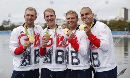 Great Britain's Alex Gregory Mohamed Sbihi George Nash and Constatine Louloudis After Winning Gold in the Men's Four Final at the Rio 2016 Olympic Games Rowing Events at the Lagoa Rodrigo De Freitas in Rio De Janeiro Brazil 12 August 2016 Brazil Rio De Janeiro