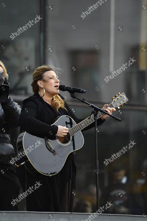 Sarah Dawn Finer during a manifestation against terror and violence, Sergels Torg, Stockholm