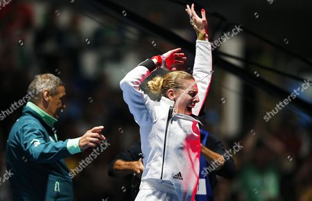 Emese Szasz (r) of Hungary Celebrates After Defeating Rossella Fiamingo of Italy in the Women's Epee Individual Gold Medal Bout of the Rio 2016 Olympic Games Fencing Events at the Carioca Arena 3 in the Olympic Park in Rio De Janeiro Brazil 06 August 2016 Brazil Rio De Janeiro