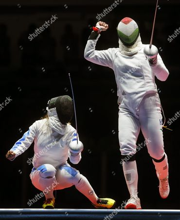 Emese Szasz (r) of Hungary Reacts During the Women's Epee Individual Gold Medal Bout Against Rossella Fiamingo (l) of Italy at the Rio 2016 Olympic Games Fencing Events at the Carioca Arena 3 in the Olympic Park in Rio De Janeiro Brazil 06 August 2016 Brazil Rio De Janeiro