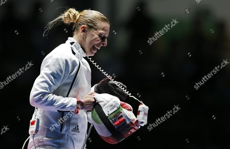 Emese Szasz of Hungary Celebrates After Beating Rossella Fiamingo of Italy and Winning Gold in the Women's Epee Individual of the Rio 2016 Olympic Games Fencing Events at the Carioca Arena 3 in the Olympic Park in Rio De Janeiro Brazil 06 August 2016 Brazil Rio De Janeiro