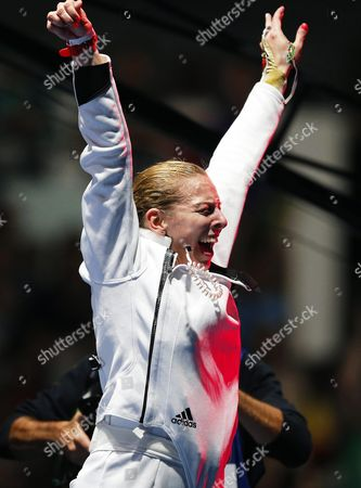 Emese Szasz of Hungary Celebrates After Defeating Rossella Fiamingo of Italy in the Women's Epee Individual Gold Medal Bout of the Rio 2016 Olympic Games Fencing Events at the Carioca Arena 3 in the Olympic Park in Rio De Janeiro Brazil 06 August 2016 Brazil Rio De Janeiro