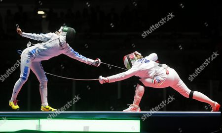 Rossella Fiamingo (l) of Italy in Action Against Emese Szasz (r) of Hungary During the Women's Epee Individual Gold Medal Bout of the Rio 2016 Olympic Games Fencing Events at the Carioca Arena 3 in the Olympic Park in Rio De Janeiro Brazil 06 August 2016 Brazil Rio De Janeiro