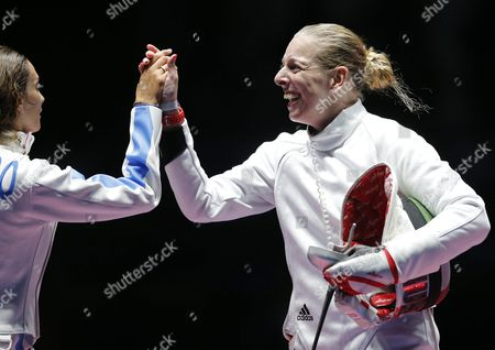 Emese Szasz (r) of Hungary Celebrates After Beating Rossella Fiamingo (l) of Italy and Winning Gold in the Women's Epee Individual of the Rio 2016 Olympic Games Fencing Events at the Carioca Arena 3 in the Olympic Park in Rio De Janeiro Brazil 06 August 2016 Brazil Rio De Janeiro