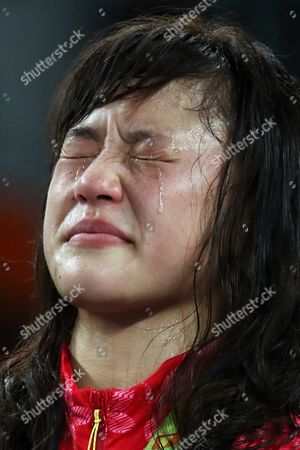 Gold Medal Winner Eri Tosaka of Japan Bursts Into Tears During the Awarding Ceremony of the Women's Freestyle 48kg Game of the Rio 2016 Olympic Games Wrestling Events at the Carioca Arena 2 in the Olympic Park in Rio De Janeiro Brazil 17 August 2016 Brazil Rio De Janeiro