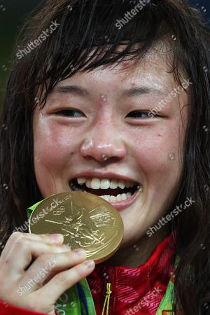 Gold Medal Winner Eri Tosaka of Japan Poses For a Photo During the Awarding Ceremony of the Women's Freestyle 48kg Game of the Rio 2016 Olympic Games Wrestling Events at the Carioca Arena 2 in the Olympic Park in Rio De Janeiro Brazil 17 August 2016 Brazil Rio De Janeiro