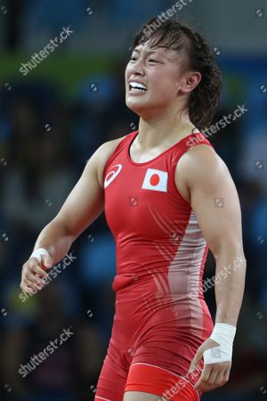 Stock Picture of Eri Tosaka of Japan Celebrates After Defeating Mariya Stadnik of Azerbaijan During the Women's Freestyle 48kg Gold Medal Game of the Rio 2016 Olympic Games Wrestling Events at the Carioca Arena 2 in the Olympic Park in Rio De Janeiro Brazil 17 August 2016 Brazil Rio De Janeiro