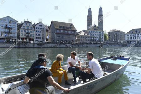 Swiss tennis player Federer, (2-R), tennis player Andy Murray, of Britain, (R), and Zurich's mayor Corine Mauch, (3-R), on a boat in Zurich, Switzerland, 10 April 2017. Federer and Murray play a charity game 'Match for Africa 3' on 10 April 2017. The charity event for the 'Roger Federer Foundation' raises money for African children.