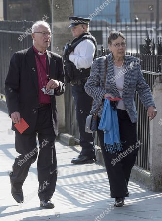 Lord George Carey and his wife Eileen Carey arrives at St Margaret's Church
