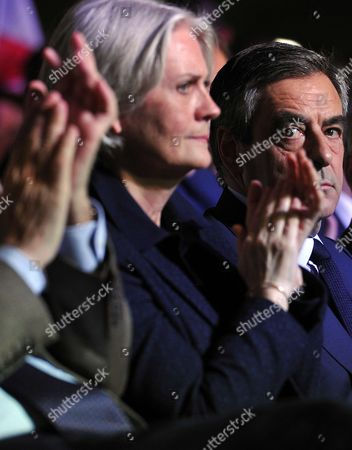 Penelope Fillon and Francois Fillon during a campaign meeting