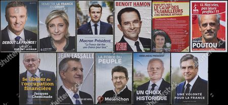 A composite combo photo shows the official campaign posters for all eleven candidates for the 2017 French presidential election candidates, including (clockwise from top left):  'Debout La France' (Stand Up France) political party candidate Nicolas Dupont-Aignan, 'Front National' (FN) political party candidate Marine Le Pen, 'En Marche!' (Onward!) political party candidate Emmanuel Macron, 'Parti Socialist'  (PS) political party candidate Benoit Hamon, 'Lutte Ouvriere' (Workers' Struggle) political party candidate Nathalie Arthaud, 'Nouveau Parti Anticapitaliste (NPA)' (New anticapitalist Party) political party Philippe Poutou, 'Solidarite et Progres (Solidarity and Progress) political party Jacques Cheminade, The official campaign poster for 2017 French presidential election independent candidate Jean Lassalle, 'La France Insoumise' (Undefeated France) candidate Jean-Luc Melenchon, 'Union Populaire Republicain' (Popular Republican Union) political party candidate Francois Asselineau, and 'Les Republicains' (LR) political party Francois Fillon, seen in Paris, France, 10 April 2017. The French presidential election is scheduled for 23 April and 07 May 2017.