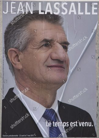 The official campaign poster for 2017 French presidential election independent candidate, Jean Lassalle, seen in Paris, France, 10 April 2017. The French presidential election is scheduled for 23 April and 07 May 2017.