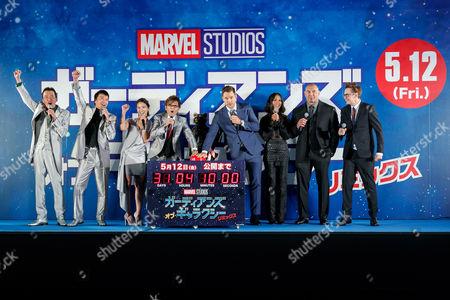 Kenichi Endo, Koji Kato, Sayaka Akimoto and Koichi Yamadera alongside cast members Chris Pratt, Zoe Saldana, Dave Bautista and Director James Gunn