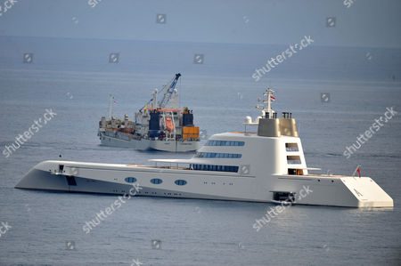 Stock Photo of Motor Yacht A designed by Philippe Starck off the coast of Monaco