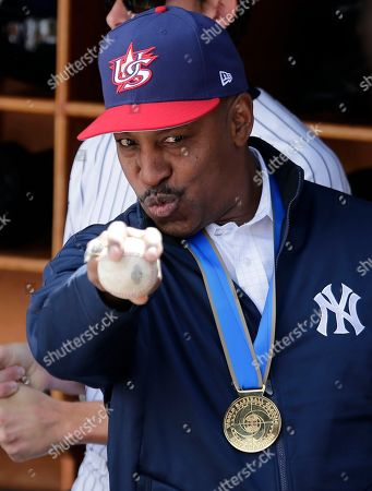 Former New York Yankees baseball player Willie Randolph poses for a picture before a baseball game between the New York Yankees and the Tampa Bay Rays at Yankee Stadium, in New York