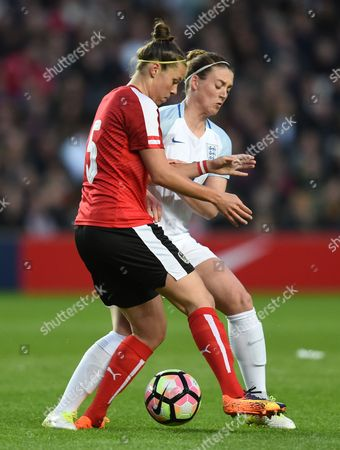 Nicole Billa of Austria and Jade Moore of England during the Womens International friendly match between England and Austria played at Stadium MK, Milton Keynes on 10th April 2017