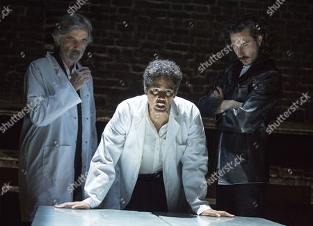 Stock Image of Martin Turner as Mr Tarrou, Sara Powell as Dr Rieux, William John Postlethwaite asMr Rambert,
