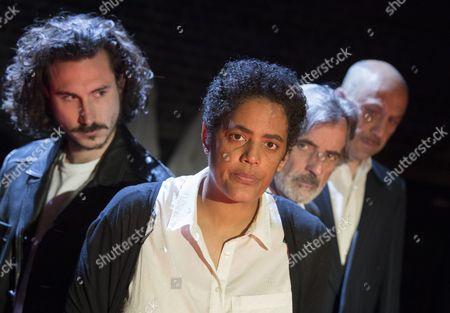 Stock Picture of William John Postlethwaite asMr Rambert, Sara Powell as Dr Rieux, Martin Turner as Mr Tarrou, Joe Alessi as Mr Cottard,