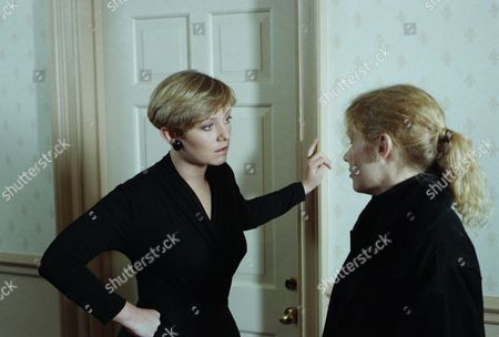 On the day of the funerals for the plane crash victims, Rachel confronts Lynn - with Lynn Whiteley, as played by Fionnuala Ellwood and Rachel Hughes, as played by Glenda McKay. (Ep 1836 - 20th January 1994).