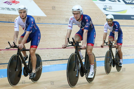 Great Britain's Steven Burke, Ollie Wood and Kian Emadi during training.