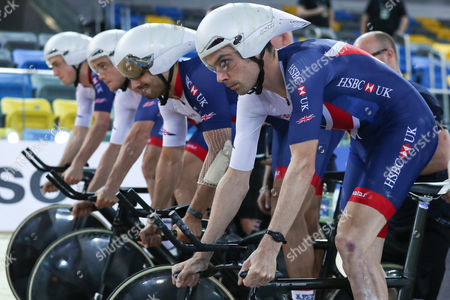 Great Britain's Men Team Pursuit during training. Andy Tennant, Kian Emadi, Steven Burke and Ollie Wood.