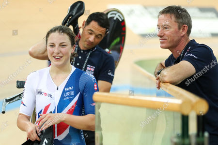 Great Britain's Manon Lloyd (L) and Performance Director Stephen Park (R).