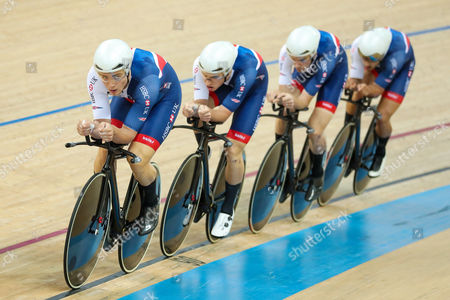 Great Britain's Steven Burke, Ollie Wood, Andy Tennant and Kian Emadi compete in the Men's Team Pursuit qualifying.