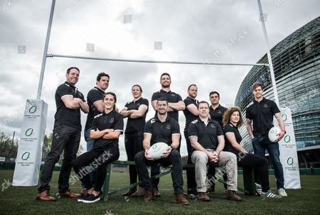 Rebrand launch of Rugby Players Ireland, Dublin 12/4/2017. Isaac Boss, Ricky Lutton, Paula Fitzpatrick, Jean Kleyn, Eoin McKeon, Ronan Loughney and Andrew Trimble with Amee-Leigh Murphy Crowe, Rob Kearney, Marcus Horan and Jenny Murphy pictured at the rebrand launch of Rugby Players Ireland, where they announced their commitment committed to making Ireland the best place in the world to play the game Ð on and off the pitch
