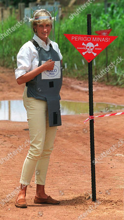 Diana Princess of Wales Walking Near a Minefield Mine Field in Angola During Her Red Cross Mission