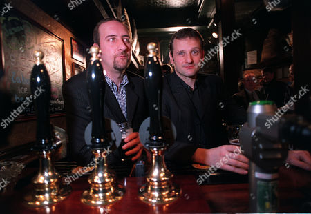 NEW PRESENTER FOR RADIO ONE, TAKING OVER FROM CHRIS EVANS.....MARK RADCLIFFE (RIGHT) WITH HIS PARTNER ON THE SHOW,MARC RILEY,AKA LARD...... IN THE PUB AROUND THE CORNER FROM THE MANCHESTER HQ OF THE BBC.
