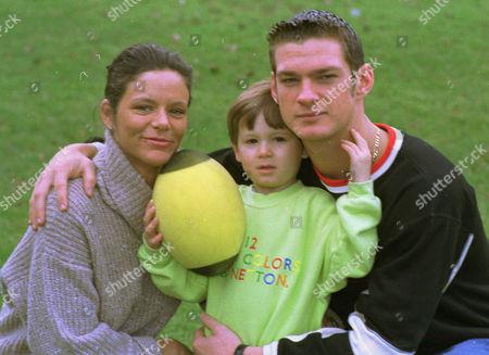 Liam Botham with Sarah-Jane Regan and her son Regan Hall