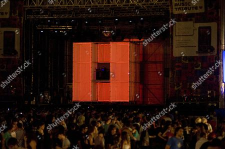 Stock Image of Barcelona, DJ, EDC, Etienne De Crecy, Festival, Minos Pour Main Basse, Mooloodjee, Parc del Forum, Summercase, Superdiscount, box, crowd, french, house, lightbox, producer, stage, summer