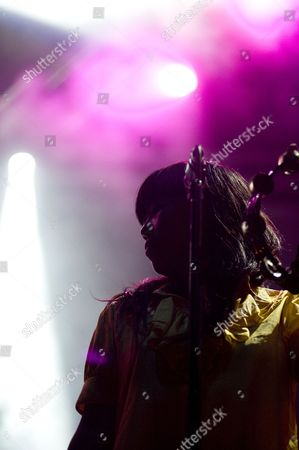 Stock Picture of Barcelona, Festival, Indie, Nancy Whang, Parc del Forum, Summercase, The Juan MacLean, american, dance punk, disco house, electronica, female, singer, summer, vocals