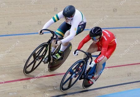 Stephanie Morton, Junhong Lin Australia's Stephanie Morton, left, and China's Lin Junhong compete during the 1/8 Finals in the Women's Sprint at the World Track Cycling championships in Hong Kong