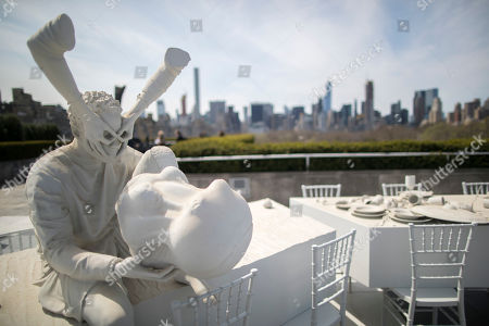 """The Theater of Disappearance"""" is seen during a media preview, at the Metropolitan Museum of Art in New York. The installation by Argentinian artist Adrian Villar Rojas featuring sixteen sculptures that fuse human figures with replicas of nearly 100 objects from the Museum's collection will be on view at the Iris and B. Gerald Cantor Roof Garden from April 14 through October 29, 2017"""
